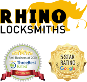 rhino locksmiths logo, best business of 2019 accreditation and google 5 start rating logo
