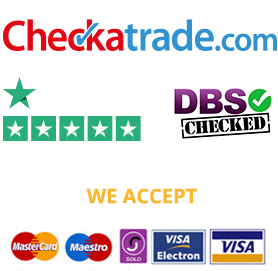 checkatrade logo, trustpilot logo and dbs checked logo. we accept all major credit cards